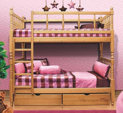 Кровать Фант 2-х ярусная деревянная с фигурными спинками